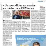 Je revendique le 2e cycle du Master en médecine à l'UMONS